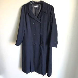 Pendleton Navy Coat Dress Lined Double Breasted